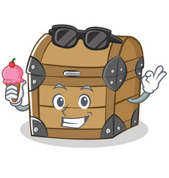 With ice cream chest character cartoon style vector