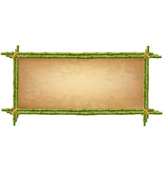 Wooden frame made of green bamboo sticks vector
