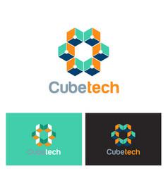 cube technology 3d logo vector image vector image