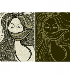 grunge girl portrait vector image