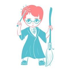 Icon of a wizard boy vector