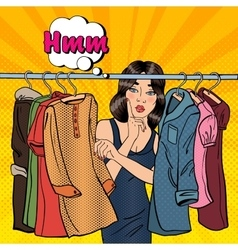 Woman choosing clothes in her wardrobe vector