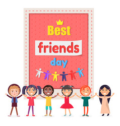 best friends day poster with cheerful children vector image