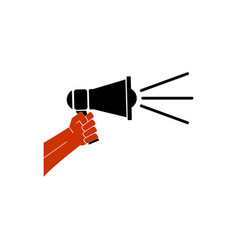 hand holding megaphone icon vector image vector image