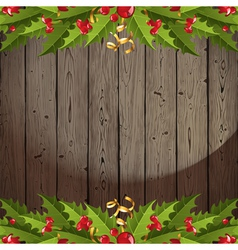 wooden back with holly vector image