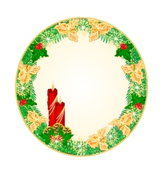 Button circle Christmas Spruce with red candle vector image vector image