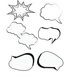 comic bubbles cartoon text boxes set with cloud vector image vector image