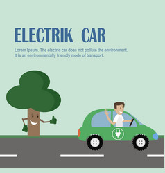 electric car environmentally friendly transport vector image