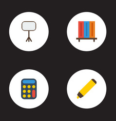 flat icons highlighter bookshop calculate and vector image vector image