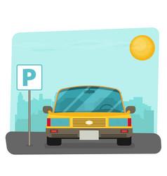parking lot flat parking lot sign near the car vector image