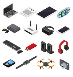 technology devices color icons isometric view vector image vector image