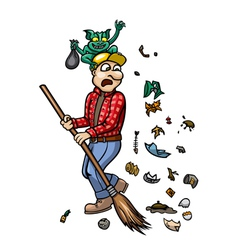 Trash monster and janitor vector image