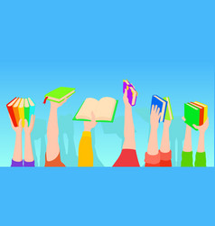 books holding horizontal banner cartoon style vector image