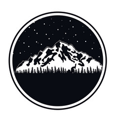 Circular frame of black color of night landscape vector