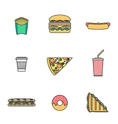 Colored outline various fast food icons collection vector