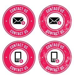 Contact us retro old labels with phone email icon vector image vector image