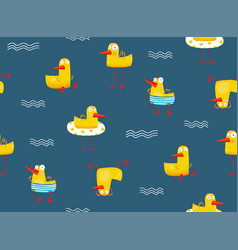 cute yellow baby duck pattern seamless pattern vector image vector image