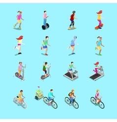 Isometric Sporting People Set Running People vector image