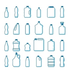 plastic bottles in outline style vector image