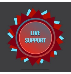 Red Style Star With Label Sign Live Support vector image