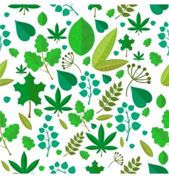 Seamless stylized green leaf pattern background vector image vector image