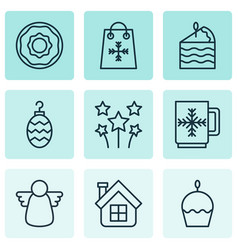 set of 9 new year icons includes winter cup vector image vector image