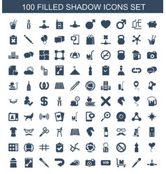 100 shadow icons vector