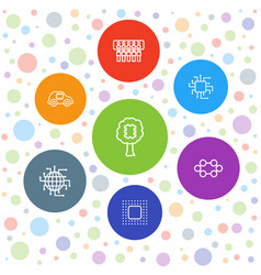 7 cpu icons vector image