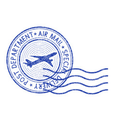 Air mail round postmark with waves vector