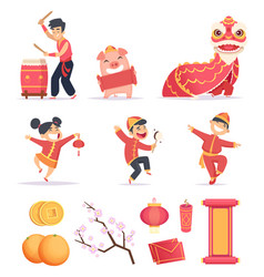 Asian new year happy chinese people celebrate vector