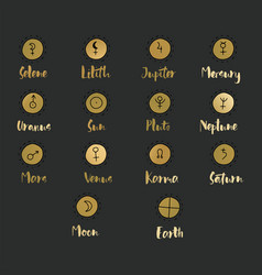 Astrology doodle symbols vector