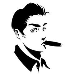 attractive vintage man with cigar vector image
