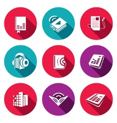 Audio book flat icons set vector image