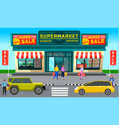 automobiles on background supermarket with vector image