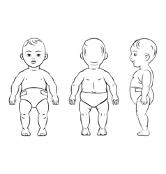 Bafigure front side and back view vector