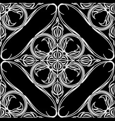 black and white floral line art seamless pattern vector image