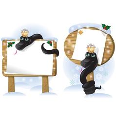 Black snake wooden sign vector