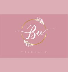 Bu b u letters logo design with golden circle vector