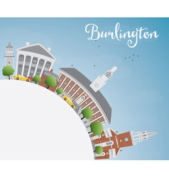 Burlington vermont city skyline vector