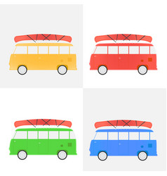 Bus for traveling with a canoe set of different vector