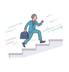 businessman running up stairway career growth vector image