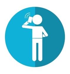 Character user smartphone talking call shadow vector