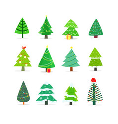 Clipart cartoon christmas trees pines vector