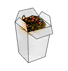 Color crayon stripe cartoon box with noodles food vector