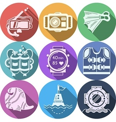 Colored flat icons for diving vector image