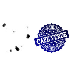 Composition of halftone dotted map of cape verde vector