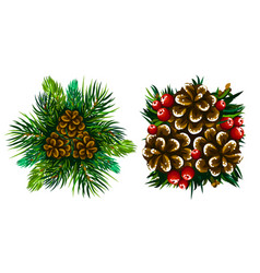 coniferous branches and cones set winter vector image
