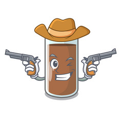 Cowboy pouring chocolate milk from bottle cartoon vector