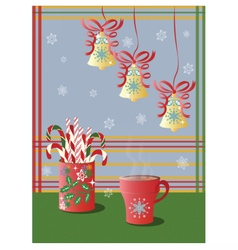 Cup tea and christmas holidays decorations vector