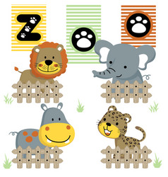 Cute little animals cartoon in the zoo vector